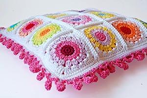 Rosie posie granny square cushion