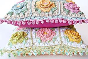 Japanese Flower Crochet Cushion