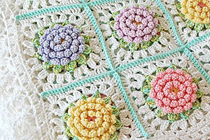 Victorian flower crochet baby blanket pdf pattern