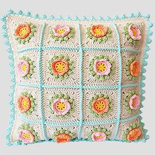 Flowery Crochet Cushion