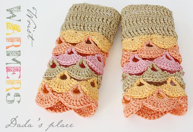 Autumn color crochet wrist warmers free pattern