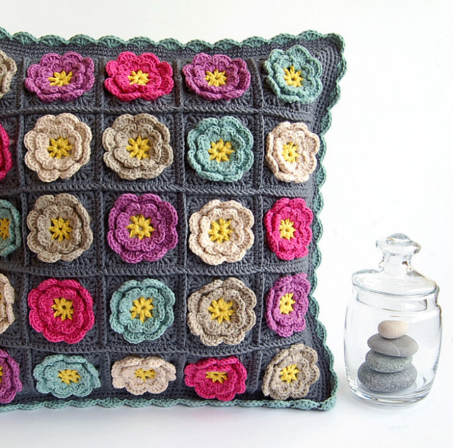 Beautiful flowery crochet cushion