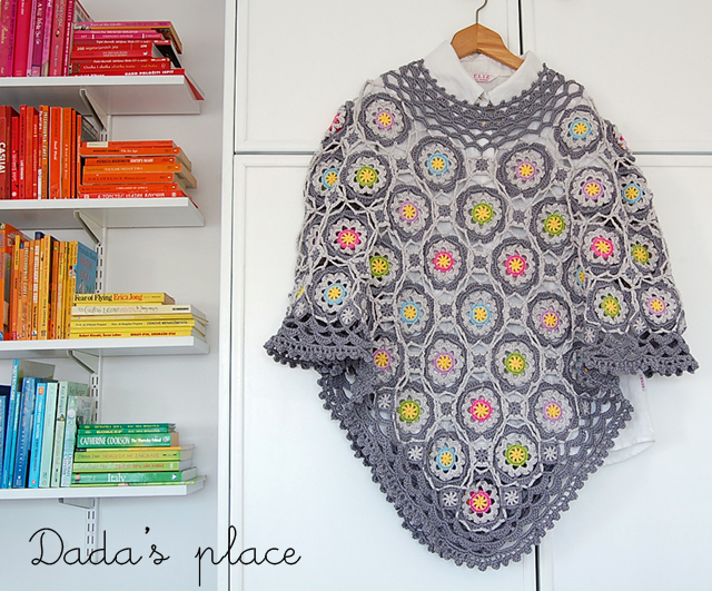 Beautiful flowery crochet poncho
