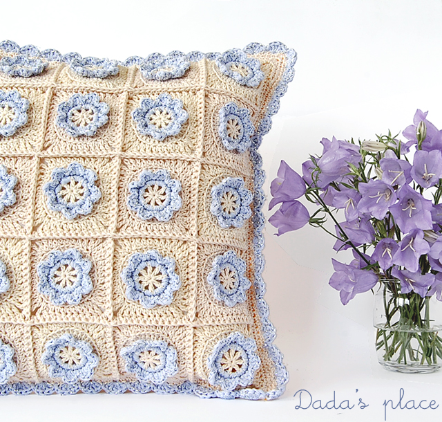 Beautiful granny square crochet pillow
