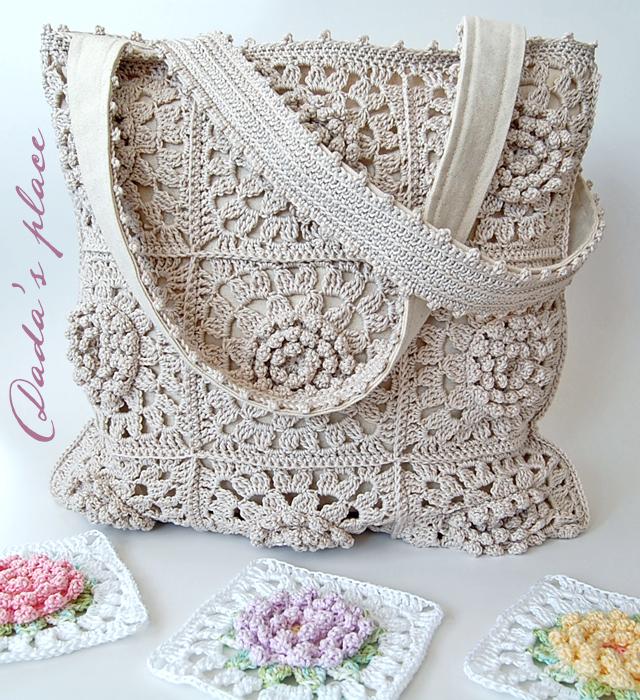 Beautiful solid crochet granny square tote bag