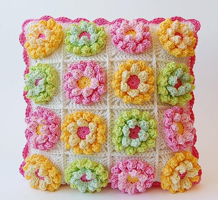 Blooming garden crochet cushion