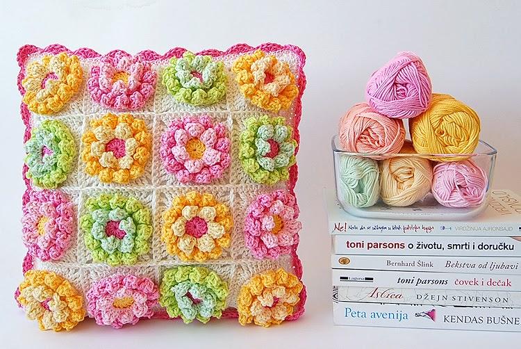 Blooming garden crochet pillow