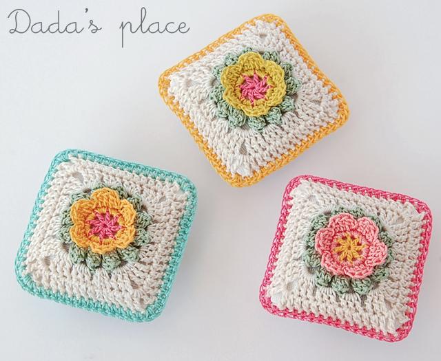 Colorful crochet lavender sachets