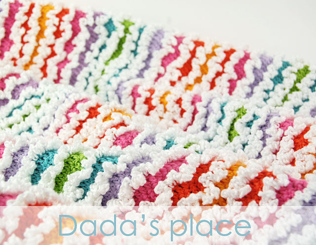 Colorful crochet ruffle blanket