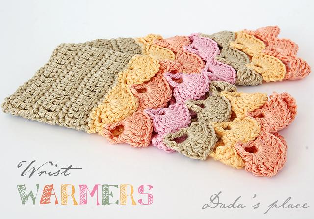 Colorful crochet wrist warmers free pattern