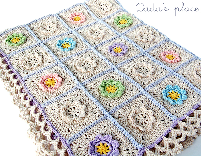 Colorful flowery crochet baby blanket
