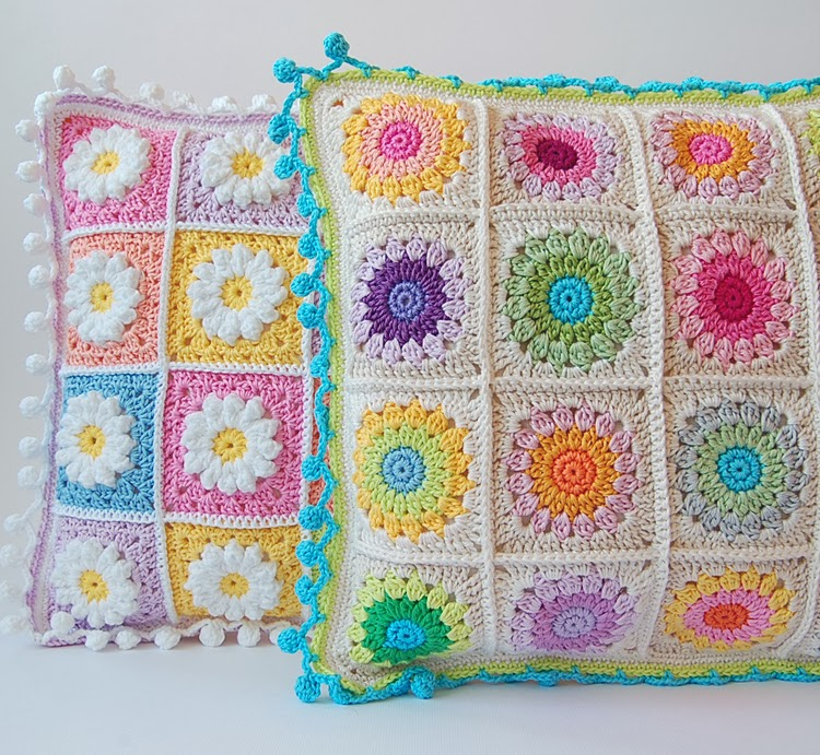 Colorful granny square pillows free pattern
