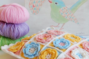 Flower granny square baby pillow