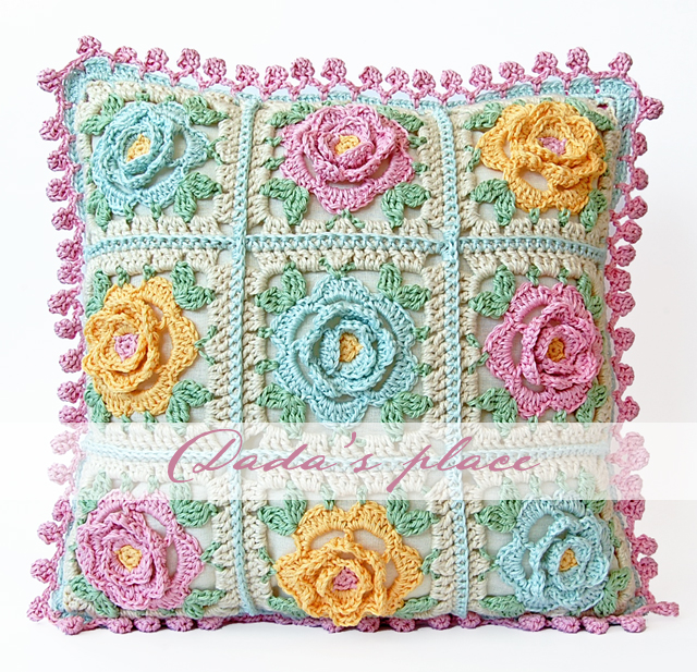 Japanese Flower Crochet Cushion