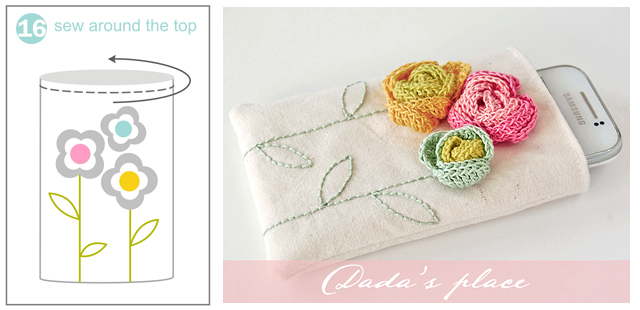Crochet flowers pouch free photo tutorial