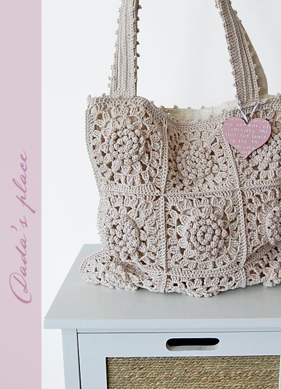 Crochet granny square tote bag
