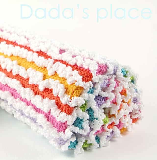 Crochet rainbow ruffle blanket