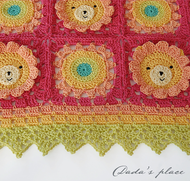 Cute little lion crochet blanket pattern