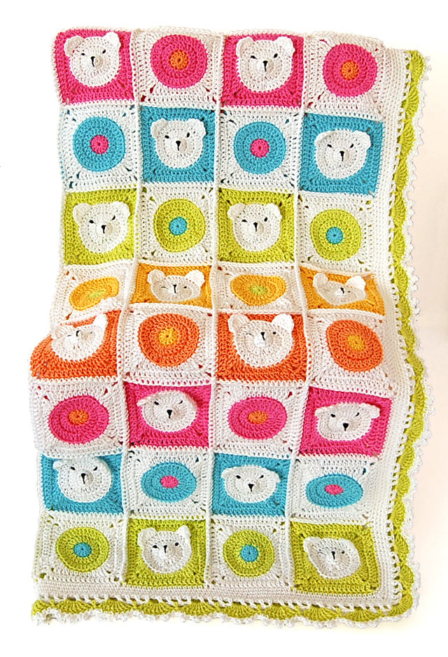 Cute teddy bear crochet blanket pattern