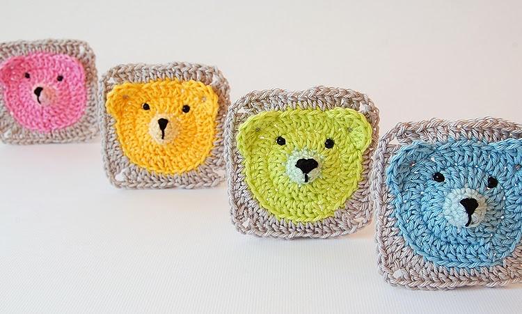 Cute teddy bear crochet granny square