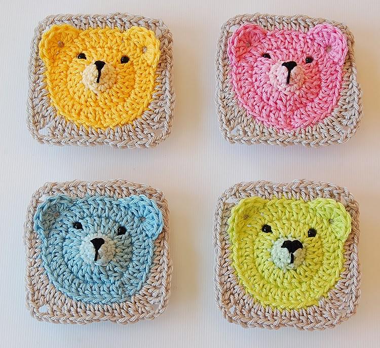 Cute teddy bear granny square