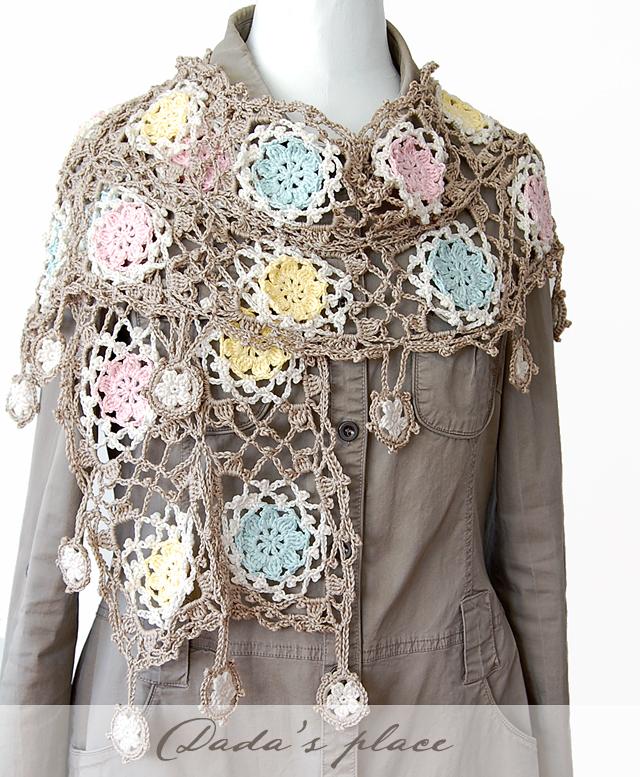 Dadas place crochet lacy scarf