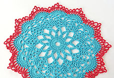 Red And Blue Doily
