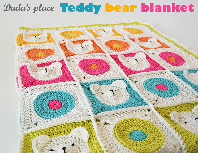 Dada's place teddy bear crochet blanket
