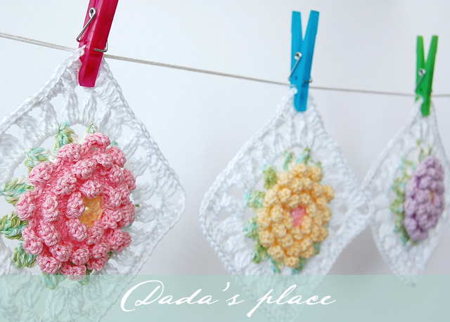 Flower granny square pattern and step by step photo tutorial