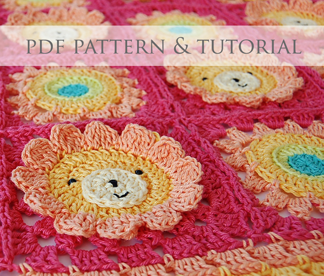 Little lion baby blanket pdf pattern   step-by-step tutorial 96c30a2d82e