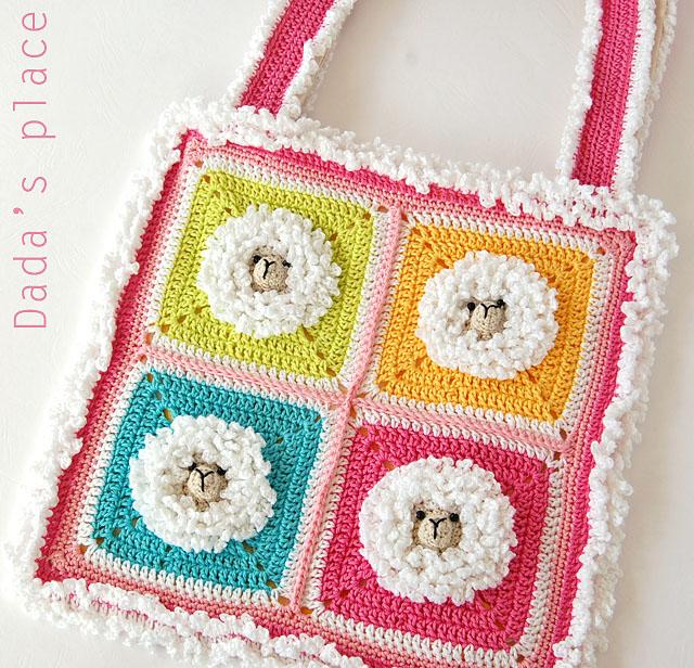 Little sheep granny square crochet bag