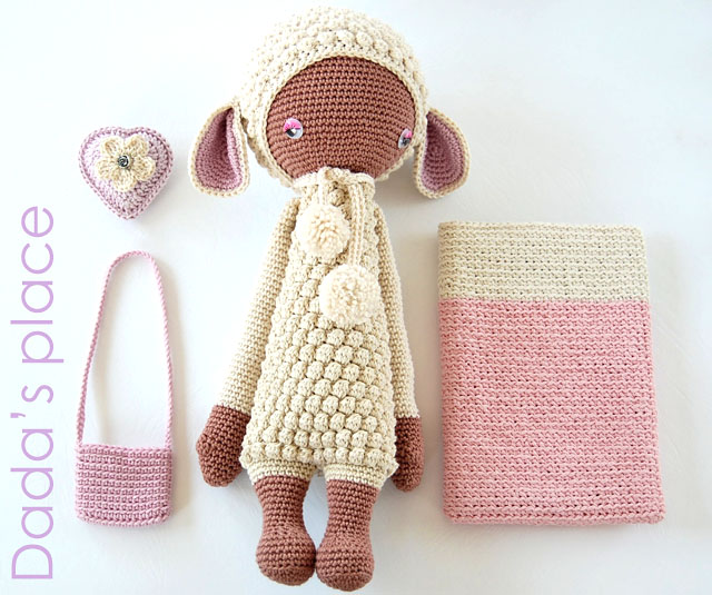 Lupo the lamb and crochet kindle pouch