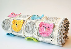 Teddy Bear Granny Square Baby Blanket