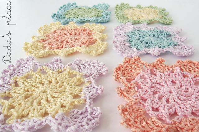 Pastel crochet granny squares