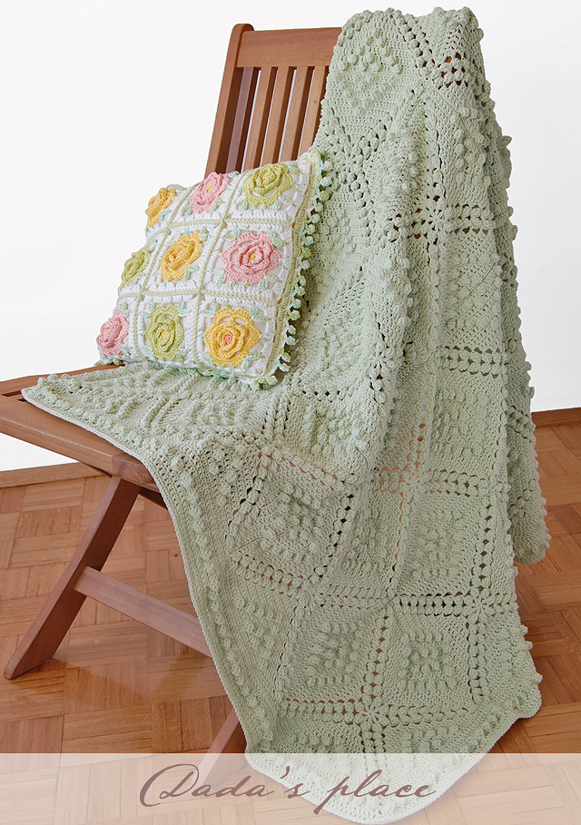 Popcorn granny square blanket free pattern