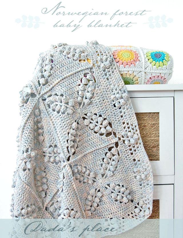 Popcorn granny square blanket pattern