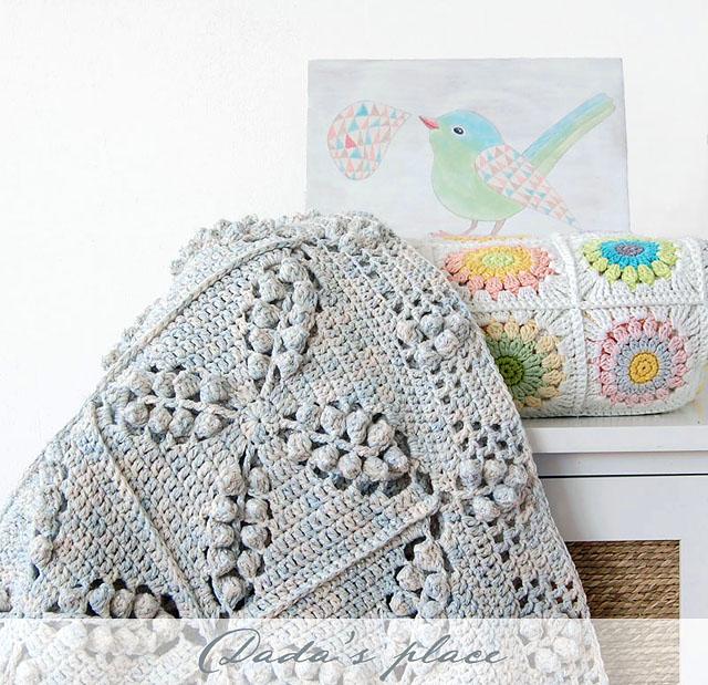 Popcorn granny square crochet blanket pattern