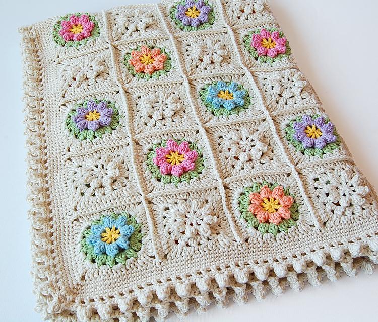 Primavera flowers baby blanket free pattern