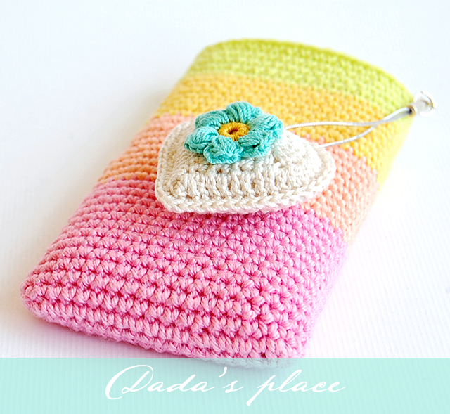 Rainbow crochet phone pouch