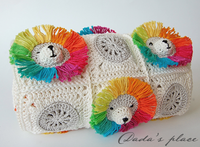 Rainbow lion crochet blanket