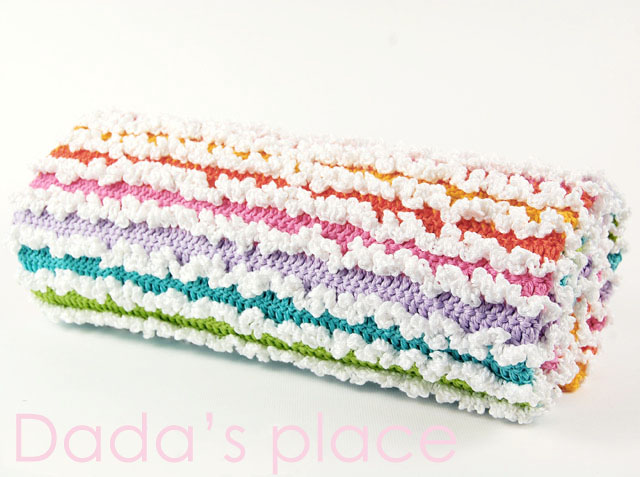 Rainbow ruffle crochet baby blanket