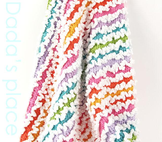 Rainbow ruffle crochet blanket