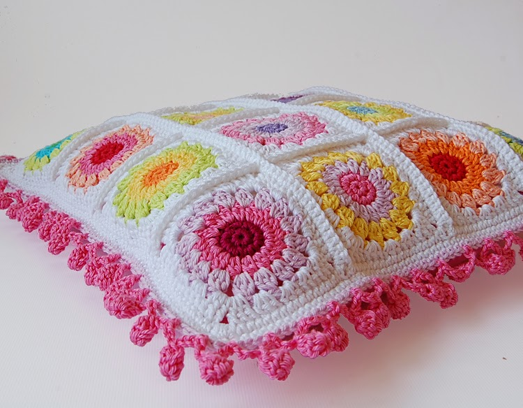 Rosie posie granny square cushion