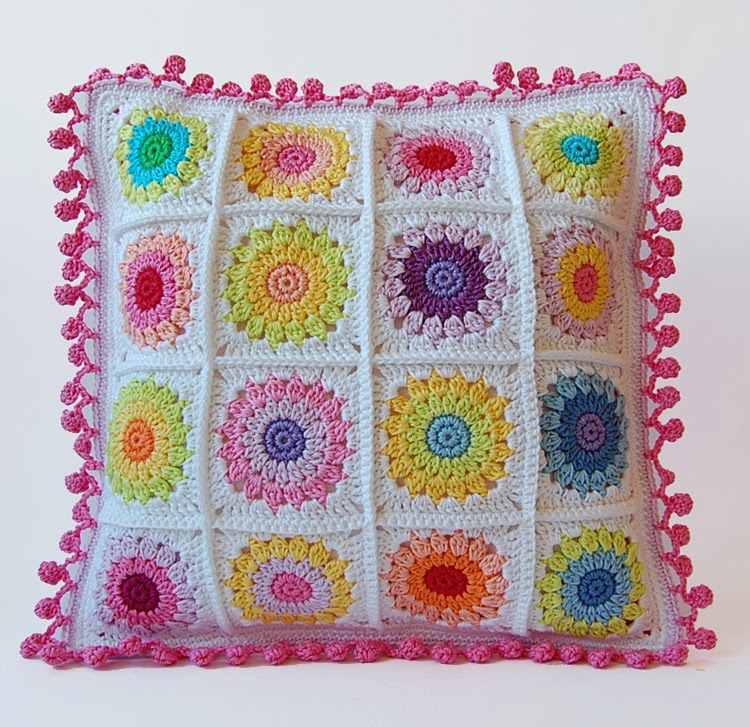 Rosie posie granny square pillow