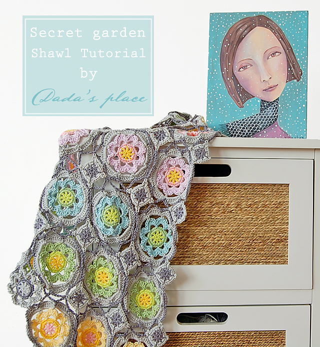 Secret garden crochet shawl free step by step photo tutorial