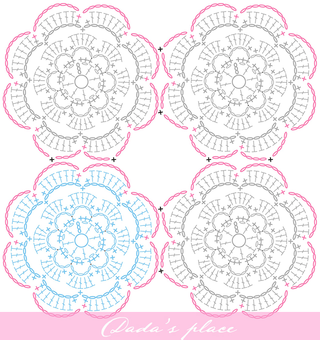 Secret garden flower motif free crochet chart