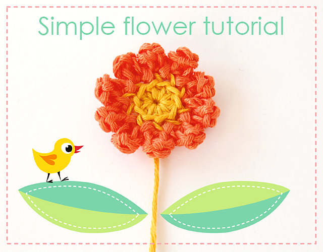 Simple crochet flower free tutorial