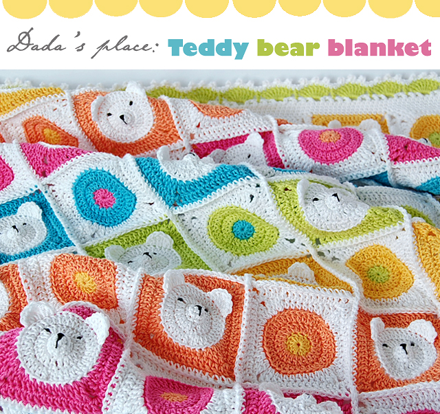 Teddy bear granny square baby blanket pattern