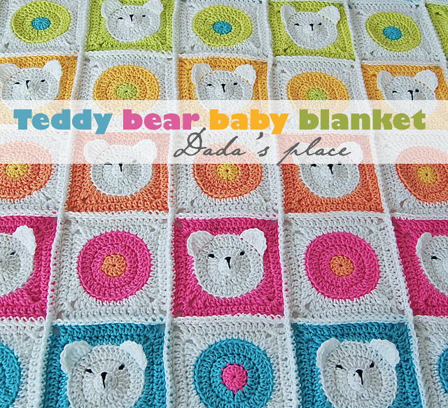 Teddy bear granny square pattern