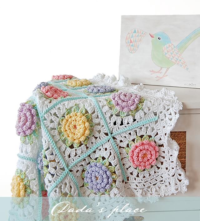 Vicorian flower baby blanket pattern
